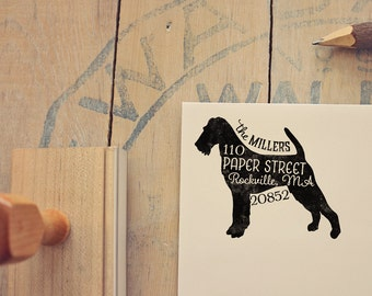 Irish Terrier Return Address Stamp, Housewarming & Dog Lover Gift, Personalized Rubber Stamp, Wood Handle