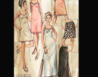 Vintage 60s 70s Slit Lacy Full Half Slip in 3 Lengths Sewing Pattern 9115 B44