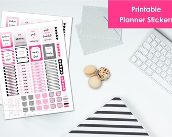 "Printable planner Stickers, pink and black color. US Letter Size (8.5""x11""), Portrait. To do digital stickers. Instant download."