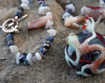 WHAT'S NEWT Necklace (Lampwork glass, Agate, Labradorite, Sodalite, Freshwater Pearl)