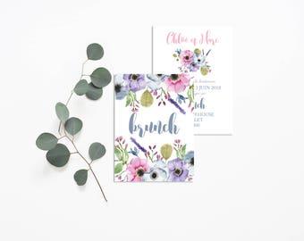 Floral Wedding brunch invitation - Wedding Brunch Invitation - Floral Wedding Invitation - Rustic Wedding - Brunch Invitation Flowers Brunch