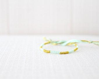 Friendship Bracelet Mint and Gold Embroidery Threads / Stocking Stuffer / Woven Bracelet