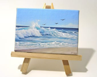 2.5x3.5 California Coast, Ocean Seascape Mini Painting by J. Mandrick