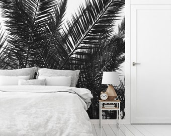 Palm leaves wallpaper mural, Tropical wall art, Beach decor, Peel and stick, Black or gray, Coastal, Nature Mural, Tree, Wall decor. MG031A