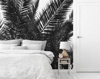 Palm leaves wallpaper mural, Tropical wall art, Beach decor, Peel and stick, Black or gray, Coastal, Nature Mural, Tree, Wall decor. MG031A
