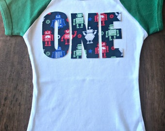 Robot Boys Birthday Raglan Tee, toddler first birthday shirt one tee robot party theme one two three four five six red white blue green