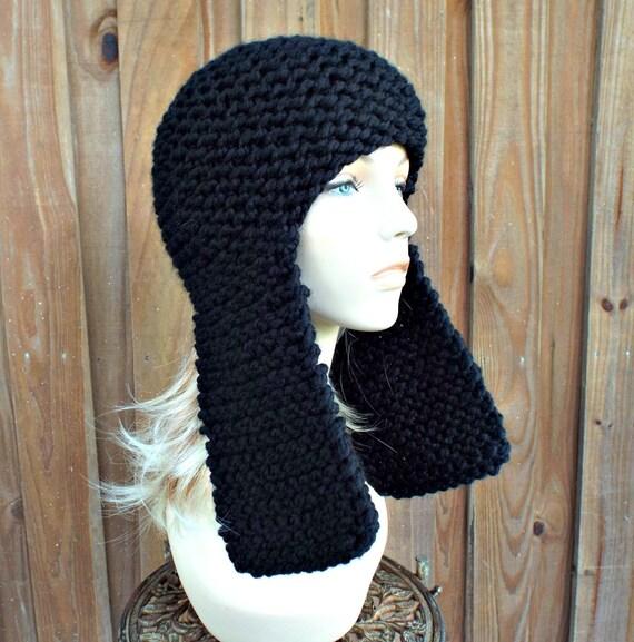 Black Knit Hat Black Womens Hat - Black Ear Flap Hat - Black Hat Black Beanie Black Mens Hat Womens Accessories Winter Hat