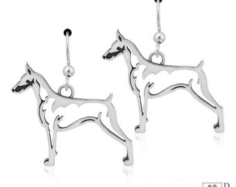 Sterling Silver Doberman Pinscher Earrings On French Wires