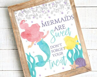 DOWNLOADABLE Little Mermaid Favor Table Sign, Ariel Birthday Sign, Little Mermaid Party Decorations, Mermaid Birthday Favor Table Sign