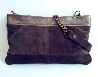 Military green purse. Leather crossbody. Shoulder leather bag. Chain strap purse. Khaki leather purse. Leather handbag. Suede crossbody
