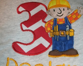 Builder Guy Birthday Personalized Birthday Shirt.. Boy or Girl any color scheme or design