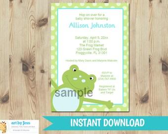 Frog Baby Shower Invitations   Frog Birthday Invitations Leapfrog   Editable Text INSTANT DOWNLOAD PDF Printable Invitations