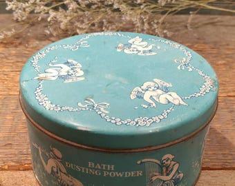 Heavenly Vintage Bath Dusting Powder Tin / Medium Blue / Boudoir / Dresser Top / Toiletries / Angels / Cherubs / Harps and Horns