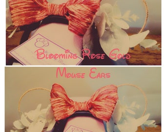 Handmade Blooming Rose Gold Mickey Ears Minnie Hairband