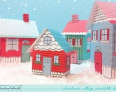christmas village -  favor boxes, luminaries, party centerpiece decoration printable PDF kit - INSTANT download