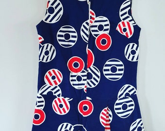 1950's 50's 1960's 60's Rompers Shorts Skorts Culattes Beach Wear Summer Size Small to Medium Vintage 50s 60s Scooters Navy Blue and Red