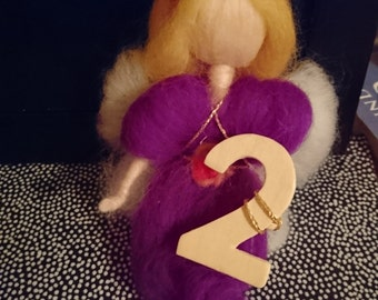 Waldorf Needle felted Birthday Angel