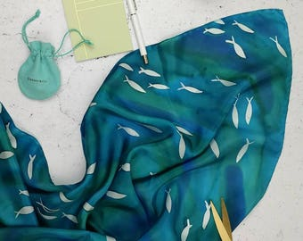 Caribbean Fish silk scarf. Turquoise blue watercolour silk scarf hand painted with a fish pattern. Ready to ship one-of-a-kind silk scarf.
