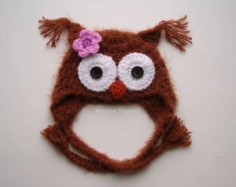 Crochet Baby Owl Hat/Fuzzy Crochet Photo Prop/Newborn Owl Hat/Photo Prop Newborn Owl/Baby Owl Hat/Crochet Owl hat/Fuzzy Owl/Newborn Hat