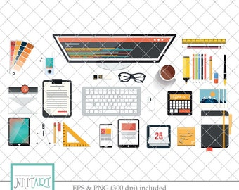 Office Clipart, Computer Clipart, Work Clipart, vector graphics, designer  clipart, digital images