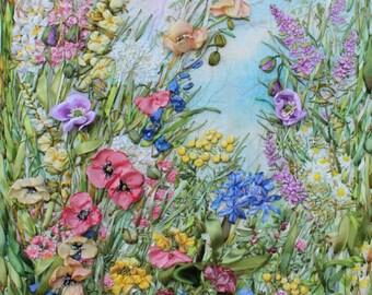 FRAMED Summer Celebration! Original Embroidered Silk Painting Textile Art