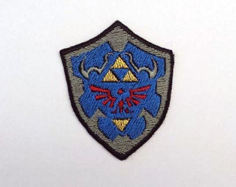 Hylian shield - Legend of Zelda patches - Shiny Metallic Embroidery iron on patch.