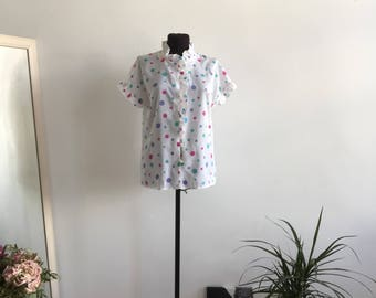Vintage Blouse, Short Sleeves, Dotted Blouse