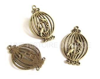 3 charms metal birdcage bronze 34 x 21 mm