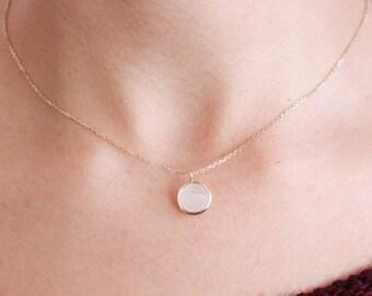 Moonstone Necklace, Rainbow Moonstone Necklace, 14K Gold Necklace, Gold Gemstone Necklace, Gold Moonstone Pendant, June Birthstone, GN0341