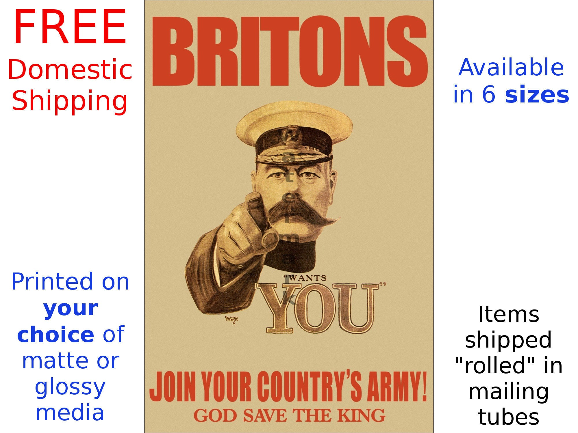 British Recruiting Poster Vintage WWI Britons Join Your