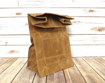 Waxed Canvas Lunch Bag in Brown - Waxed Canvas Lunch Tote - Waxed Canvas Bag