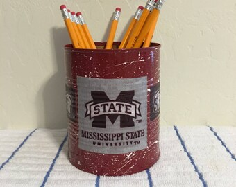 COLLEGE PENCIL HOLDER  KC141/Pencils/Pens/Brushes/Markers/Flowers/Candy/Money/Gift Holder (Mississippi State Bulldogs Fabric)
