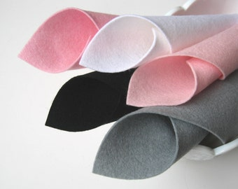 Pure Merino, 100% Wool, Ballerina Color Story, Felt Fabric Set, 8x12 Inch Sheets, Baby Pink, Light Pink, Black, Grey, White, Sewing Fabric
