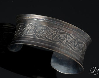 Etched Tribal Cuff Bracelet