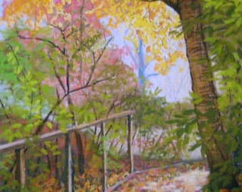 """Original Tree Art Painting """"Pink and Yellow"""" pastel landscape"""