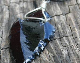 1pc wire-wrapped Black Obsidian Arrowhead Pendant
