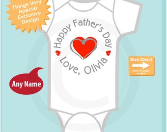 Happy Father's Day Onesie,  New Dad Gift, Personalized Fathers Day Onesie or Tee shirt with Red Heart (05182015b)