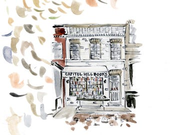 Capitol Hill Books Original Watercolor Printed Reproduction, 5x7