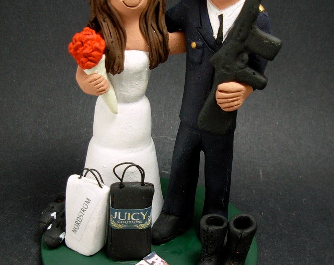 Fashionista Bride Wedding Cake Topper, Fashionista's Wedding Anniversary Gift, Army Dress Blues Wedding CakeTopper, Military Wedding CakeTop
