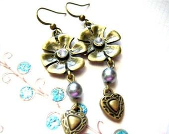 Antique Bronze Flower with Heart Dangle Earrings