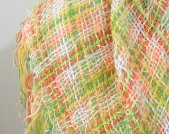 Hand Woven Shawl, Handmade Triangle Shawl, Pastel Colors