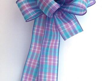 Pastel plaid bow for wreaths, party decor, Easter basket decoration, home decor
