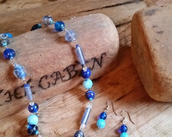 Blue glass lampwork necklace and earring set