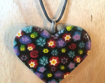 Fused Glass Heart Pendant, Valentine's Gift, Millefiori Glass Heart, Heart Necklace, Glass Flower Pendant, Flower Necklace, Glass Heart