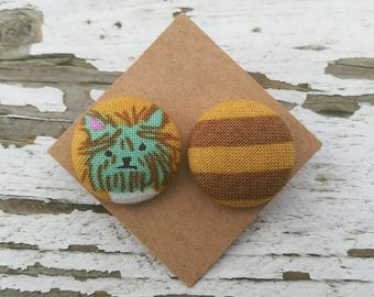 Fabric Button Post Stud Earrings - Mismatched Dog and Yellow Gold Brown Stripes - 3/4""