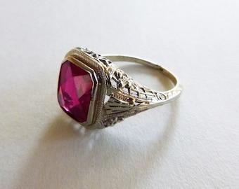 Art Deco 10k white gold filigree red gem ruby ring size 6.25
