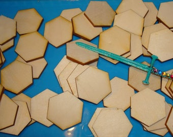 The shape of hexagons 50 30 mm 02884 wood 3mm