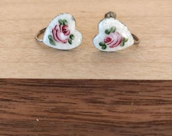 Victorian style Sterling heart shaped rose earrings