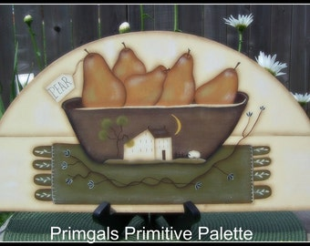 Primitive Pear Door Crown Topper Wood Penny Rug Saltbox House Sign Home Decor Wall Art