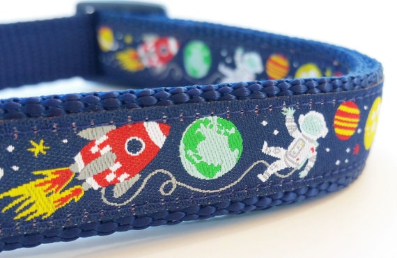 Planet Pup - Dog Collar / Handmade / Adjustable / Rocket / Outer Space / Galaxy / Pet Lover / Gift Idea / Pet Accessoried / Alien / Space